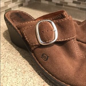 Born Suede Brown Wedge Clogs With Buckle Size 9